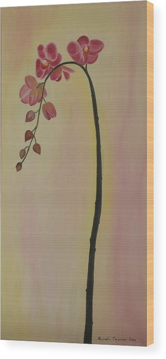Marinella Owens Wood Print featuring the painting Orchide in pink by Marinella Owens