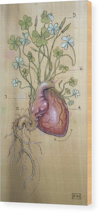 Clover Wood Print featuring the pyrography Clover Heart by Fay Helfer