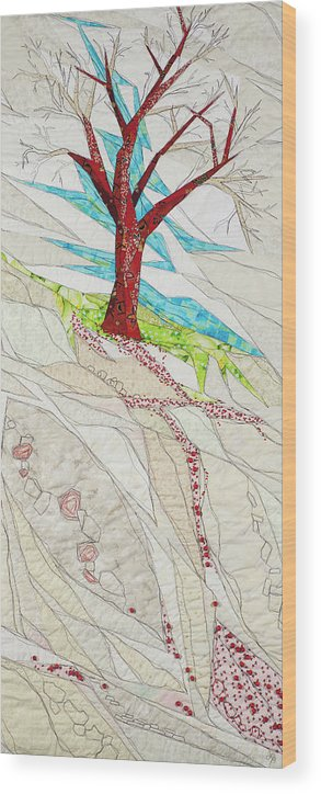 Tree Wood Print featuring the tapestry - textile Windfall by Linda Beach