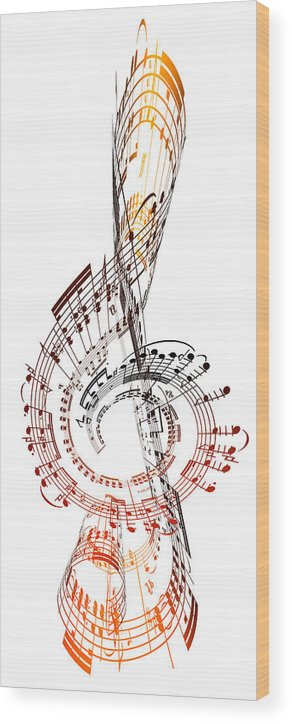 Sheet Music Wood Print featuring the digital art A Treble Clef Made From Sheet Music by Ian Mckinnell
