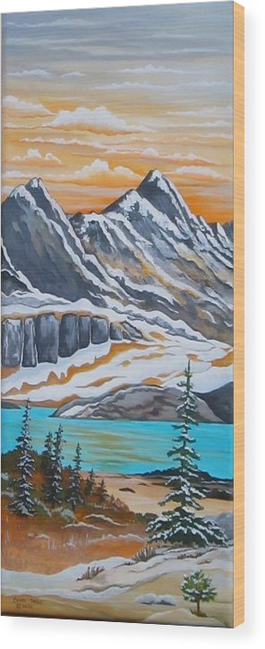Mountains Wood Print featuring the painting Twin Peaks by Carol Sabo