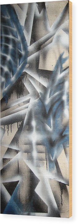 Abstract Wood Print featuring the painting Slipstream by Leigh Odom