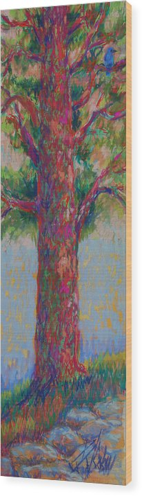 Tree Wood Print featuring the painting Bluebird of Happiness Tree by Billie Colson