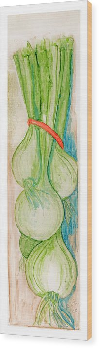Still Life Wood Print featuring the painting Green Onions by Elle Smith Fagan