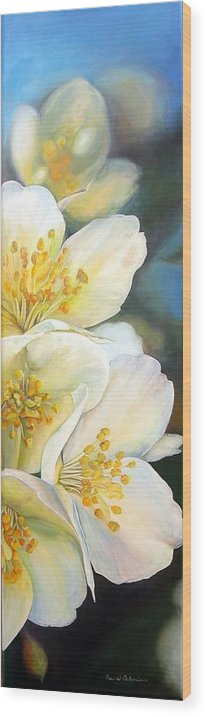Floral Painting Wood Print featuring the painting Eglantine by Muriel Dolemieux