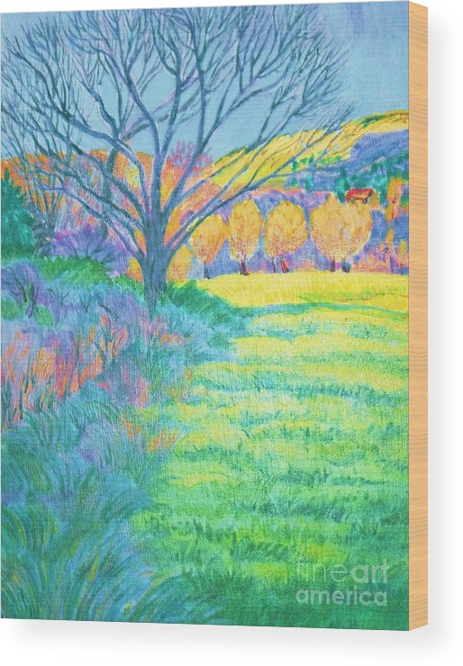 Copy Of Tree In Field Acrylic Painting Wood Print featuring the digital art Tree in Field Painting by Annie Gibbons