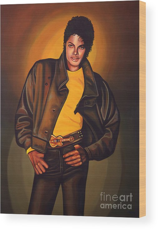 Michael Jackson Wood Print featuring the painting Michael Jackson by Paul Meijering