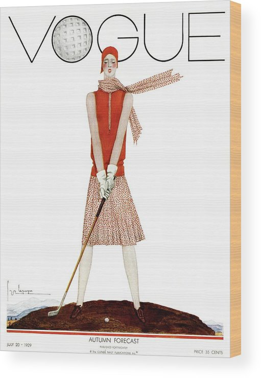 Illustration Wood Print featuring the photograph A Vintage Vogue Magazine Cover Of A Woman by Georges Lepape