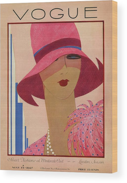 Illustration Wood Print featuring the photograph A Vintage Vogue Magazine Cover Of A Woman by Harriet Meserole