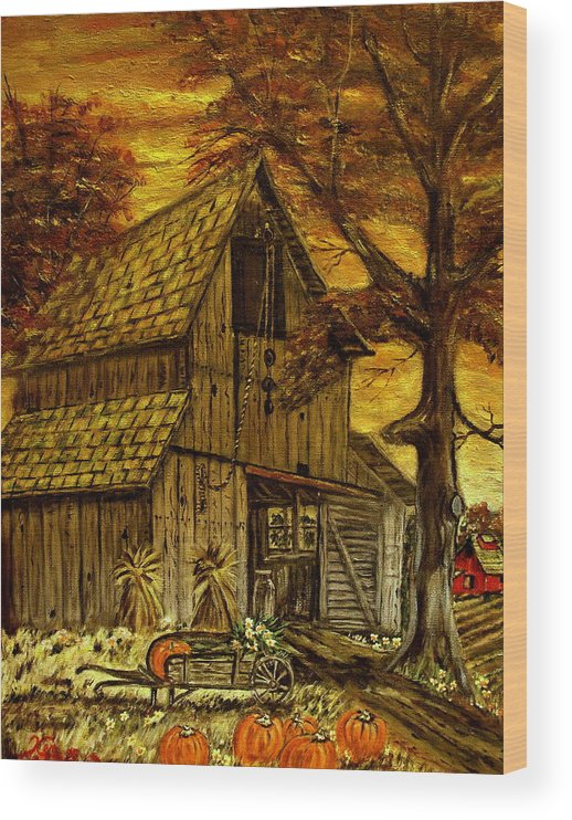 Old Barn Wood Print featuring the painting Barn and Wheelbarrow by Kenneth LePoidevin