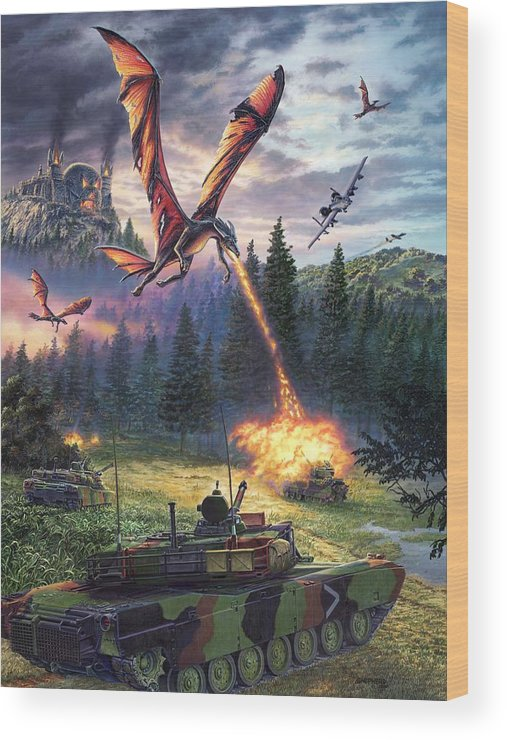 Dragon Wood Print featuring the painting A Clash Of Worlds by Stu Shepherd
