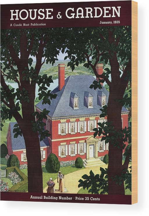 House And Garden Wood Print featuring the photograph A Colonial Manor House by Pierre Brissaud