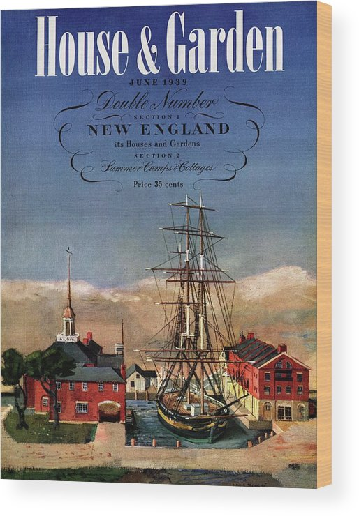 Illustration Wood Print featuring the photograph A House And Garden Cover Of A Model Ship by Louis Bouche