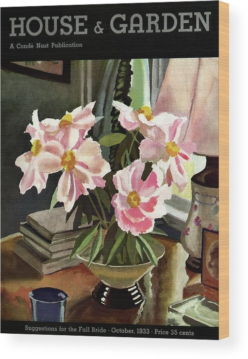 Illustration Wood Print featuring the photograph A House And Garden Cover Of Rhododendrons by David Payne