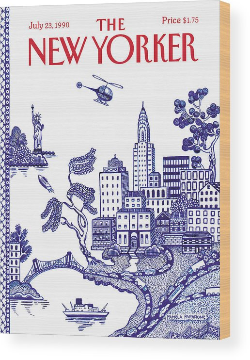 New York City Wood Print featuring the painting New Yorker July 23, 1990 by Pamela Paparone