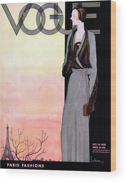Illustration Wood Print featuring the photograph A Vintage Vogue Magazine Cover Of A Wealthy Woman by Georges Lepape