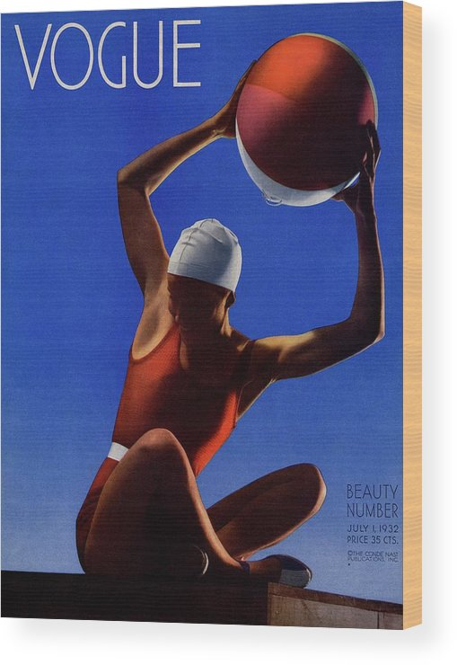 Sport Wood Print featuring the photograph A Vintage Vogue Magazine Cover Of A Woman by Edward Steichen