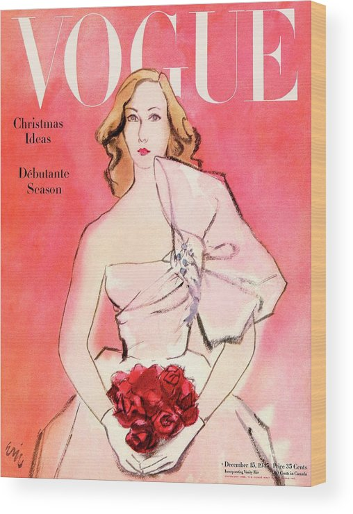 Fashion Wood Print featuring the photograph A Vogue Cover Of A Woman With Roses by Carl Oscar August Erickson