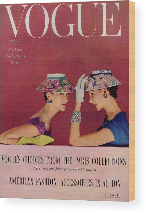 Fashion Wood Print featuring the photograph A Vogue Cover Of Models Wearing Lilly Dache Hats by Richard Rutledge