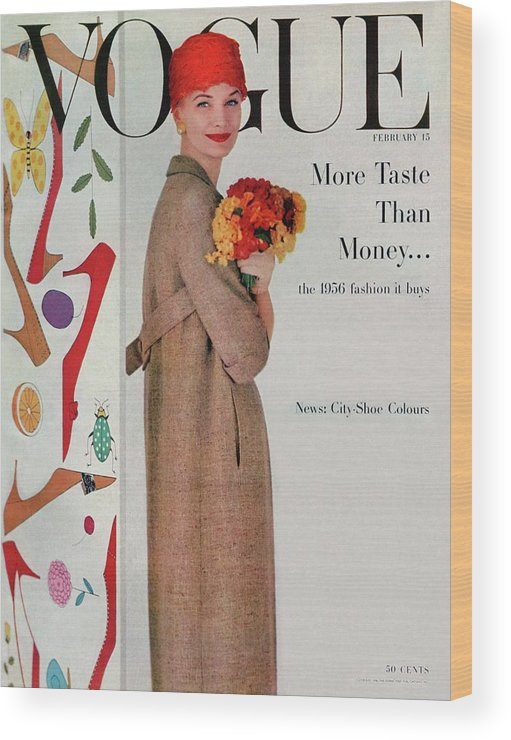 Fashion Wood Print featuring the photograph A Vogue Cover Of Sunny Harnett With Flowers by Karen Radkai