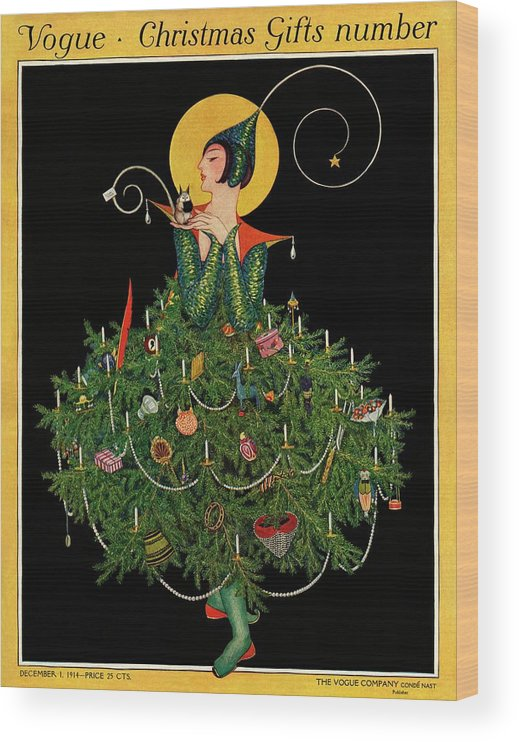 Illustration Wood Print featuring the painting A Woman Dressed As A Christmas Tree by Artist Unknown