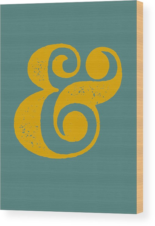 Ampersand Wood Print featuring the digital art Ampersand Poster Blue and Yellow by Naxart Studio