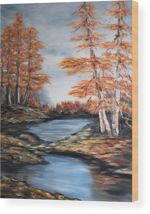 Landscape Wood Print featuring the painting Autumn by Kenneth LePoidevin