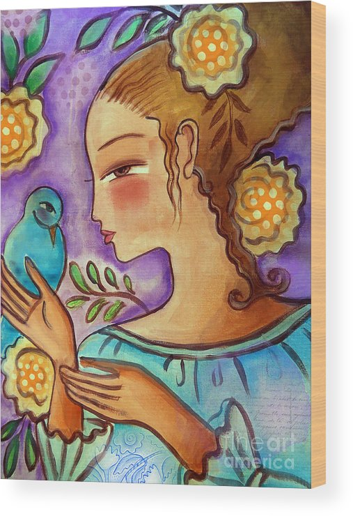Flowers Wood Print featuring the mixed media Birdie by Elaine Jackson
