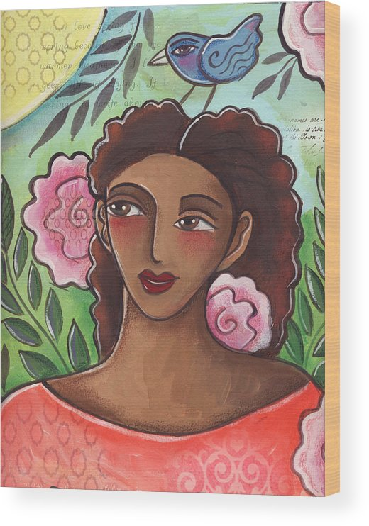 Woman Wood Print featuring the painting Blue Bird Of Happiness On My Head by Elaine Jackson