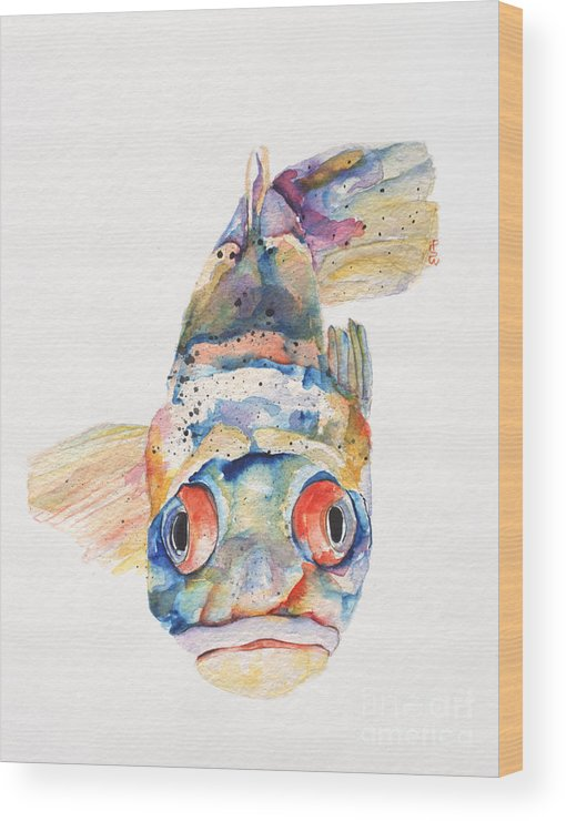 Pat Saunders-white Wood Print featuring the painting Blue Fish  by Pat Saunders-White