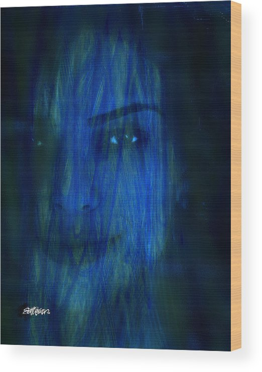 Blue Veil Wood Print featuring the digital art Blue Veil by Seth Weaver