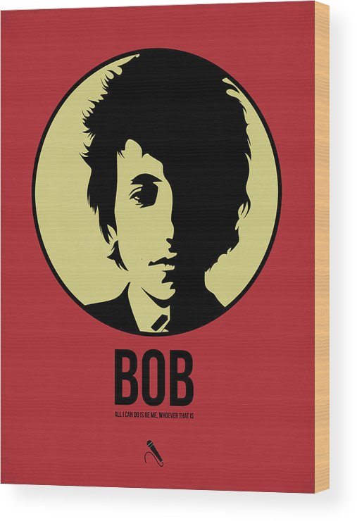 Music Wood Print featuring the digital art Bob Poster 1 by Naxart Studio
