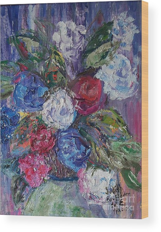Bouquet Wood Print featuring the painting Bouquet 4 by Judith Espinoza