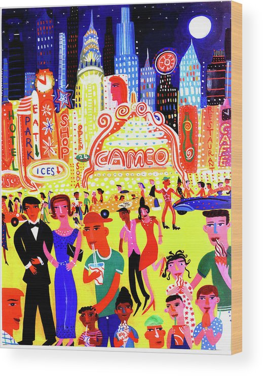 People Wood Print featuring the digital art Busy Nightlife In New York City, United by Christopher Corr