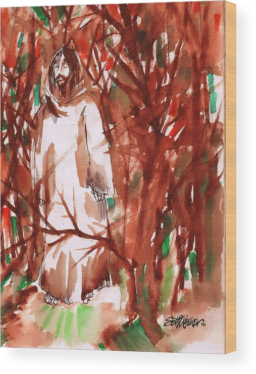 Christ In The Garden Wood Print featuring the painting Christ in the Forest by Seth Weaver