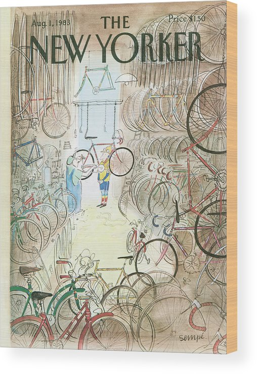Bikes Wood Print featuring the painting Cycle Shop by Jean-Jacques Sempe