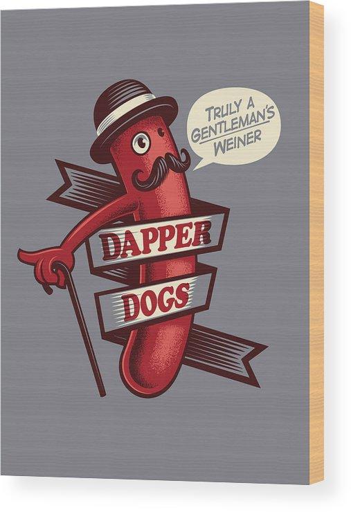 Walking Cane Wood Print featuring the digital art Dapperdogs by Leonryan.com