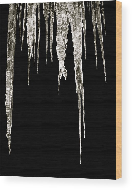 Icicle Wood Print featuring the photograph Dark Ice by Azthet Photography