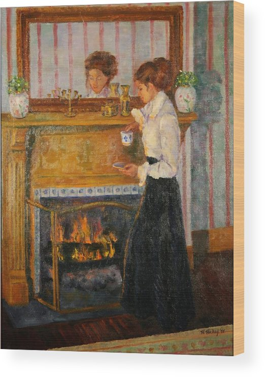 Wood Print featuring the painting Fireside by Helen Hickey