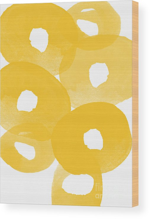 Abstract Flowers Wood Print featuring the painting Freesia Splash by Linda Woods
