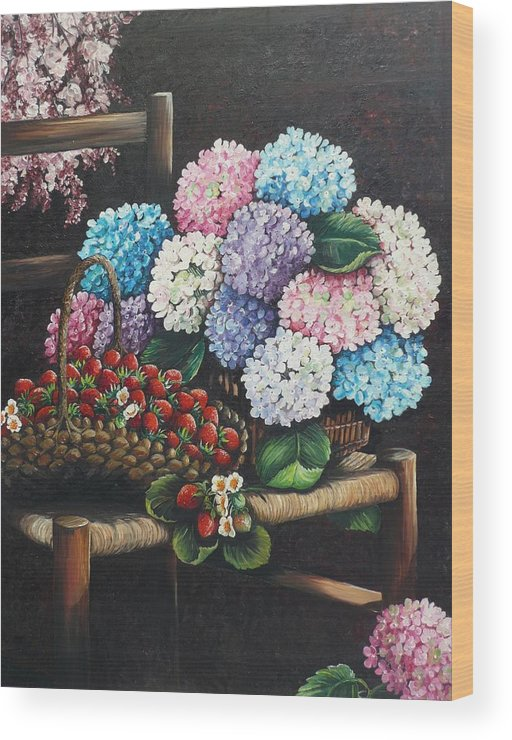Hydrangea Paintings Floral Paintings Botanical Paintings Flower Paintings Blooms Hydrangeas Strawberries Paintings Red Paintings Basket Paintings Pink Paintings Garden Paintings  Blue Paintings  Greeting Card Paintings Canvas Paintings Poster Print Paintings  Wood Print featuring the painting From My Garden by Karin Dawn Kelshall- Best
