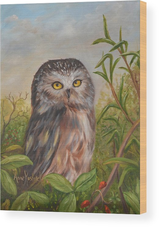 Owls Wood Print featuring the painting Fukuro by Anne Kushnick