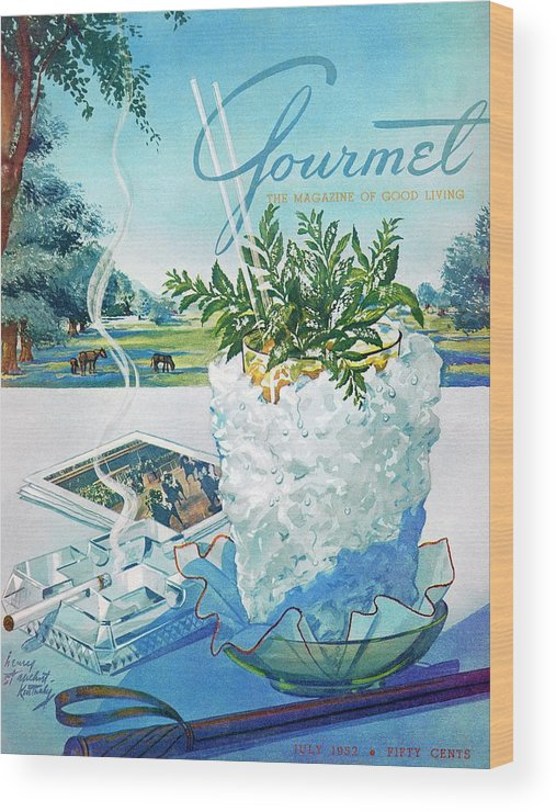 Food Wood Print featuring the photograph Gourmet Cover Illustration Of Mint Julep Packed by Henry Stahlhut
