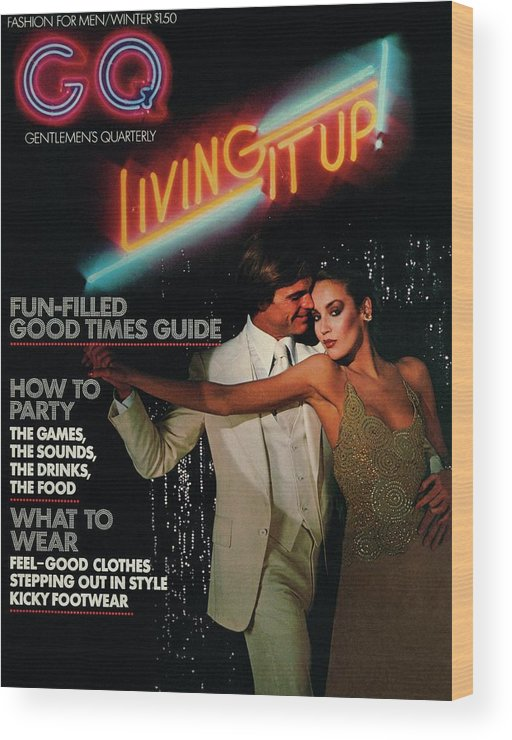 Dance Wood Print featuring the photograph Gq Cover Of A Couple In Disco Setting by Chris Von Wangenheim
