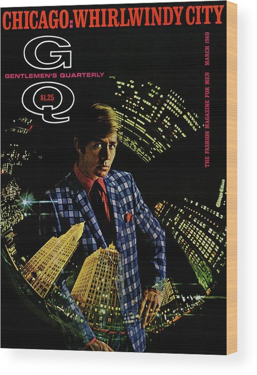 Fashion Wood Print featuring the photograph Gq Cover Of Model Wearing A Louis Roth Jacket by Leonard Nones