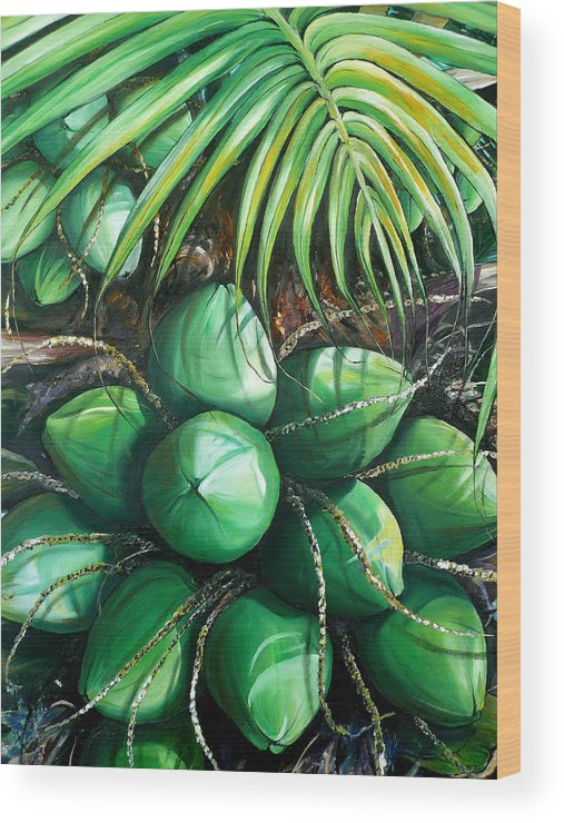 Tropical Painting Caribbean Painting Green Painting Palm Tree Painting Greeting Card Painting Botanical Painting Tree Painting Wood Print featuring the painting Green Coconuts 3 Sold by Karin Dawn Kelshall- Best