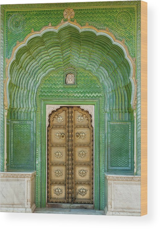Arch Wood Print featuring the photograph Green Gate In Pitam Niwas Chowk by Hakat
