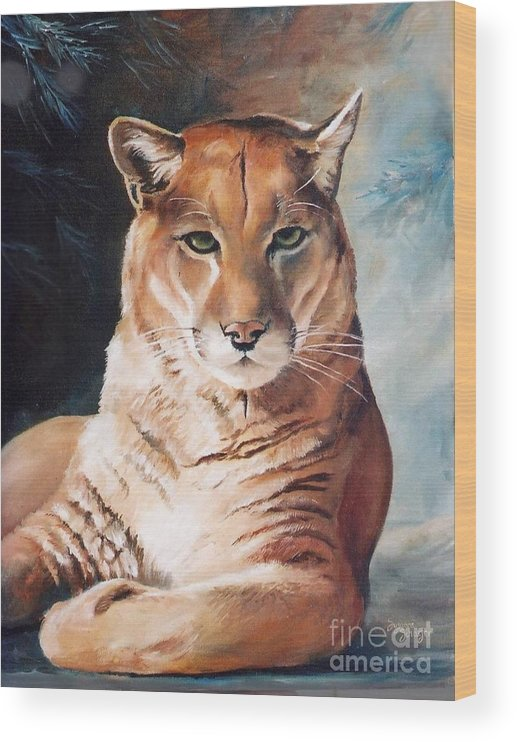 Cougar Wood Print featuring the painting Her Majesty by Suzanne Schaefer