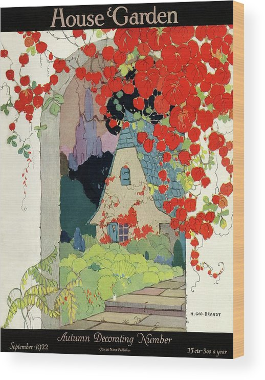 House And Garden Wood Print featuring the photograph House And Garden Autumn Decorating Number by H. George Brandt