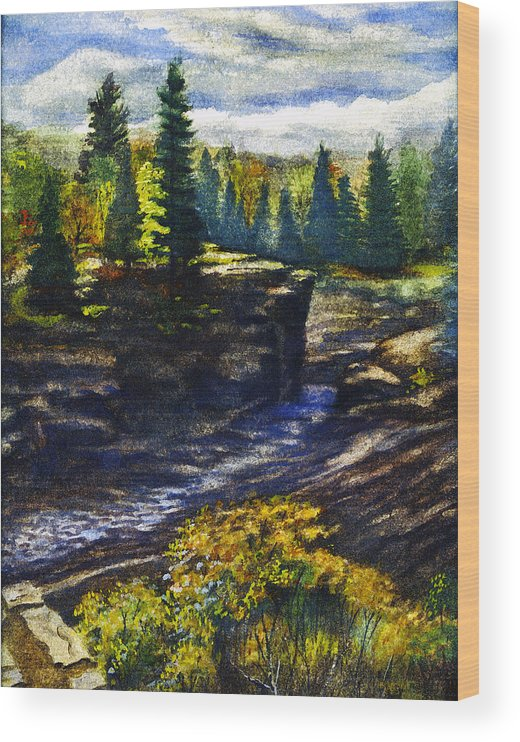 Duluth Wood Print featuring the painting Jay Cooke State Park by Rose Aune